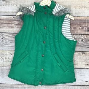 Maurices Puffer Vest Lg Green Fur Lined hood